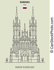 sacro, samara, chiesa, cuore, punto di riferimento, russia., icona