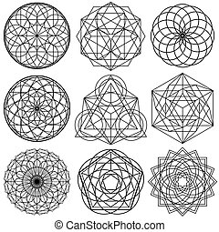 sacro, simboli, -, 02, vettore, geometria, set
