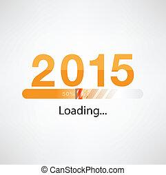 sagoma, 2015, felice, nuovo, caricamento, fondo, anno