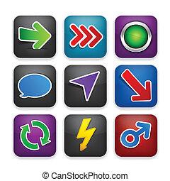 sagoma, app, quadrato, moderno, icons.