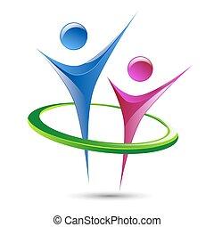 sagoma, astratto, logotipo, vettore, figure, umano