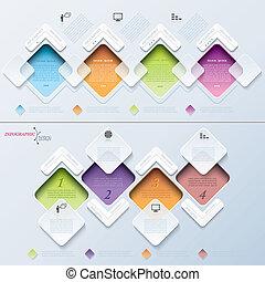 sagoma, astratto, processo, moderno, rettangoli, infographics