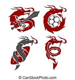 sagoma, calcio, drago, logotipo, disegno, vettore, spada, mascotte, football, set