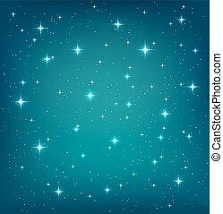 sagoma, cielo, stars., vettore, disegno, fondo, notte, brillio