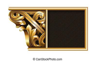 sagoma, emblema, 3d, intagliato, berretto, colonna, oro