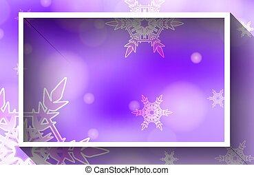 sagoma, fondo, disegno, fiocchi neve, viola, cornice