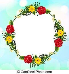 sagoma, fondo, fiori, cornice, disegno, cielo