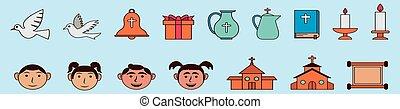 sagoma, illustrazione, cristiano, religioso, set, isolato, icona, vario, fondo, vettore, models., cartone animato, disegno, blu
