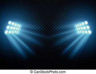 sagoma, isolated., luci, proiettori, vettore, stadio, baluginante, riflettore