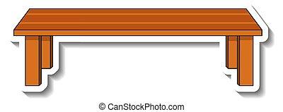 sagoma, legno, mobilia, isolato, esterno, panca, adesivo