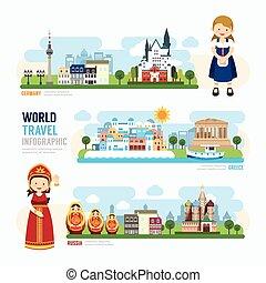 sagoma, punto di riferimento, viaggiare, illustrazione, europa, esterno, infographic., vettore, disegno, concetto