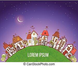 sagoma, scarabocchiare, notte, cartone animato, cielo, disegno, case, colorito, fondo