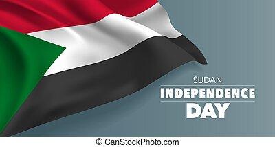 sagoma, scheda, vettore, bandiera, indipendenza, illustrazione, testo, augurio, giorno, sudan