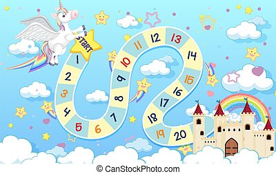 sagoma, stile, asse, colorare, pastello, gioco, unicorno, bambini