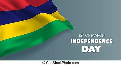 sagoma, testo, vettore, illustrazione, mauritius, giorno indipendenza, scheda, bandiera, augurio