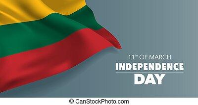 sagoma, testo, vettore, lituania, illustrazione, giorno indipendenza, scheda, bandiera, augurio