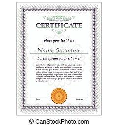 sagoma, vettore, certificato, disegno