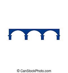 sagoma, vettore, logotipo, ponte, icona