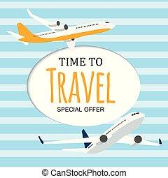 sagoma, viaggiare, illustrazione, aeroplano., vettore, fondo, tempo