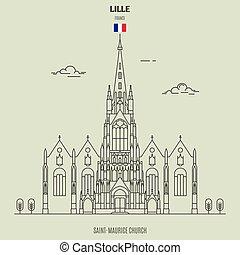 saint-maurice, france., chiesa, lille, punto di riferimento, icona