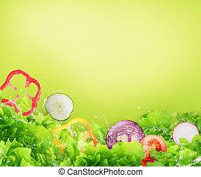 salad., concetto, sano, wellness, cibo, fresco