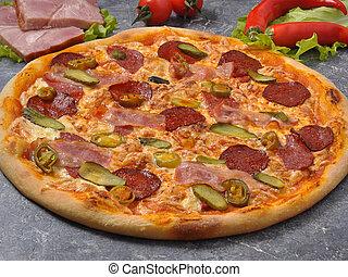 salame, pizza, sottaceti, jalapeno, pancetta affumicata