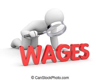 salario, vetro, esaminare, ingrandendo, umano