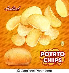 salato, classico, patata, illustrazione, pubblicità, patatine fritte, 3d