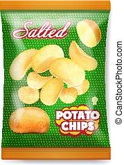 salato, reaalistic, patata, illustrazione, imballaggio, design., 3d, patatine fritte, icona