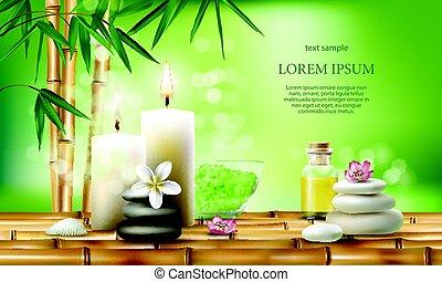sale, vettore, olio massaggio, aromatico, terme, trattamenti, candles., illustrazione