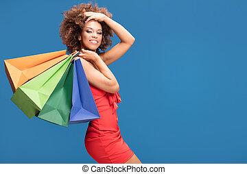 sales., afro, ragazza, godere, shopping
