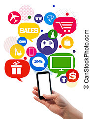 sales/shop, affari, sagoma, linea