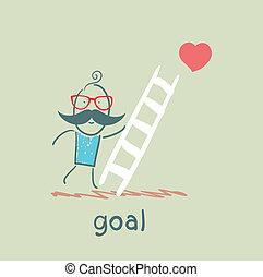 salite, scale, scopo, uomo