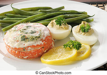 salmone, closeup, imbottito