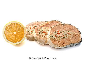salmone, delizioso, imbottito