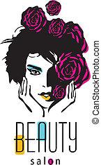 salone, donna, bellezza, -, vettore, logotipo