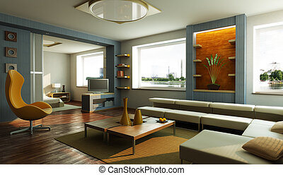 salotto, interno, stanza moderna