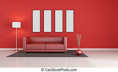 salotto, moderno, rosso