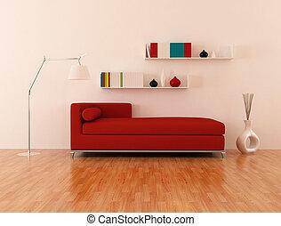 salotto, moderno, rosso, divano