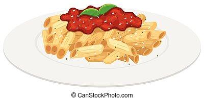 salsa, pomodoro, piastra, penne, pasta