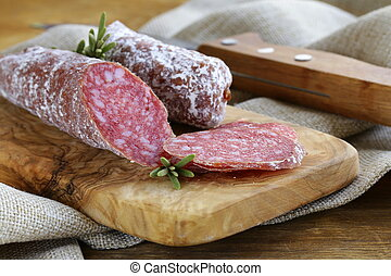 salsiccia, affumicato, delicatezza, (pepperoni)