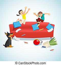 saltare, bambini, giocando palla, divano