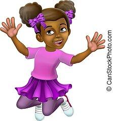 saltare, capretto, felice, ragazza, cartone animato, carattere, bambino