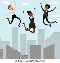 saltare, cartone animato, tre, businesswomen.