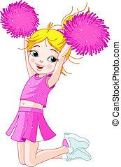 saltare, cheerleading, ragazza, carino