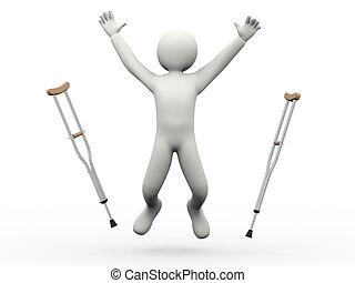 saltare, crutches, 3d, uomo, lancio, felice