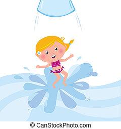 saltare, diapositiva acqua, /, aqua, felice, parco, sorridente, tubo, capretto