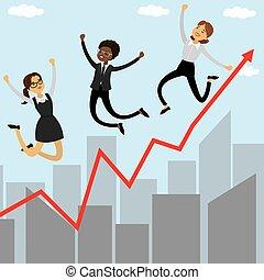 saltare, grafico, crescente, donne affari, tre, cartone animato