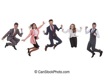 saltare, gruppo, affari, successo, squadra