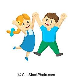 saltare, mani, aria., ragazza, loro, gioia, illustrazione, felice, giovane, isolato, ragazzo, bianco, vettore, fondo., cartone animato, bambini, appartamento